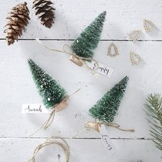 Green Bottle Brush Tree Name Place Cards - Rustic Christmas - Christmas Place Card Holders Christmas Rates, Christmas Place Cards, Christmas Bunting, Wooden Christmas Trees, Christmas Table Decorations, Christmas Settings, Rustic Christmas, Christmas Christmas, Christmas Place Setting