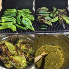 """Green Chile Salsa Recipe (July, 14 you ever wanted to know how to make the """"good stuff"""", now you know.Here is one of the most traditional New Mexican salsa recipes that you can find. It's ver (Traditional Chili Recipes) Green Chile Salsa Recipe, Chili's Salsa Recipe, Hatch Green Chili Recipe, Green Chili Salsa, Green Chili Recipes, Chile Recipe, Hatch Chile Salsa, Hatch Chili, Authentic Mexican Recipes"""