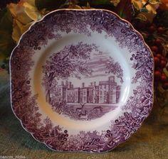 Vintage English China Square Purple Transferware Plate Romantic England Grazing Deer Penshurst Place