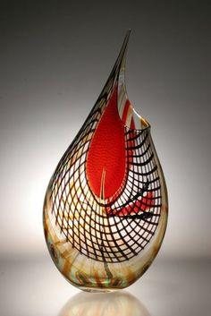 Murano Art Glass Vase by Afro Celotto by Joseph Wright by Ammazed Murano Glass Vase, Glass Vessel, Glass Ceramic, Art Of Glass, Blown Glass Art, Red Glass, Vidro Carnival, Art Fractal, Vase Cristal