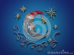 Sleeping crescent decoration quilling by wacomka  , via Dreamstime