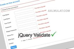 This tutorial will show you how to setup front-end jquery form validation in just a few minutes. I've kept this tutorial very basic with simple steps. Registration Form, First Names, Templates, Learning, Create, Simple, Role Models, Template, Teaching