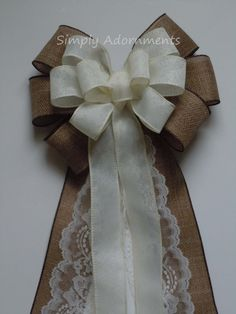 Rustic Country Wedding Aisle Bow Ivory Burlap Lace Wedding Pew Bow Chair Bow…