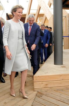 Queen Mathilde of Belgium visits the pavilion of Belgium during the national day of Belgium at the Expo 2015 on June 12, 2015 in Milan, Italy.