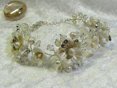 Bridal  Bracelet  Pearls bracelet wedding bracelet by Asnatjewelry