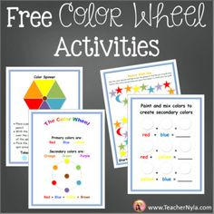 Color Wheel Activities by Nyla's Crafty Teaching | TpT Free Teaching Resources, Teaching Ideas, Color Mixing Guide, School Forms, British Spelling, First Grade Teachers, Secondary Color, Red And Blue, Back To School