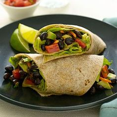 A protein rich avocado and bean wrap will keep you going through the afternoon. #recipes