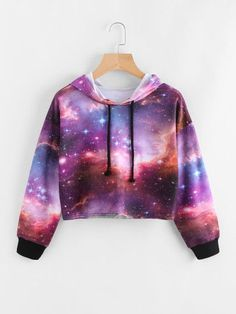Galaxy Print Drawstring Crop Hoodie - Romwe Galaxy Print Drawstring Crop Hoodieone-size Source by - Crop Top Outfits, Cute Casual Outfits, Stylish Outfits, Dress Outfits, Dresses, Teen Fashion Outfits, Outfits For Teens, Girl Fashion, Gothic Fashion