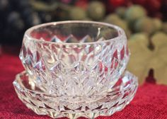 Small Pressed Glass Bowl and Plate Set  Diamond by PearlsParlor