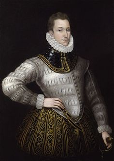 Sir Philip Sidney, National Portrait Gallery, (1554–1586) was an English poet, courtier and soldier,  remembered as one of the most prominent figures of the Elizabethan age. Wrote: Astrophel and Stella, The Defence of Poesy, and The Countess of Pembroke's Arcadia. Son of Sir Henry Sidney & Lady Mary Dudley (sister of Leicester).First husband of Frances Walsingham,daughter of the Queens spy. Died fighting the Protestant cause in the Netherlands, 1586.
