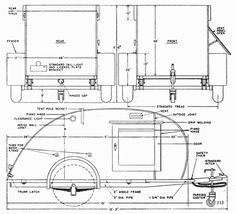 3-view plan for teardrop camper - SO want to build one of these!!