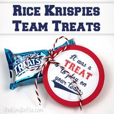 It was a TREAT to play on your team.   Rice Krispies Treats snack idea.  Includes the FREE PRINTABLE to make the tags!