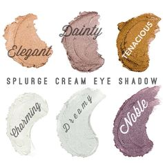 For extravagant lids that glisten, look no further than Splurge - a luxurious, long-wearing cream shadow fit for a queen. With this elite eye shadow and its velvety opulence, you'll turn heads wherever life takes you, from a night out in your best dress to running errands in your favorite jeans. Go ahead. Treat yourself like royalty every day, every month. You deserve to Splurge! Colors: Elegant, Dainty, Tenacious, Charming, Dreamy, Noble