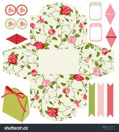 Party Set. Gift Box Template. Abstract Floral Shabby Chic Pattern, Classic Country Roses. Empty Labels And Cupcake Toppers And Food Tags. Ilustración vectorial en stock 214874938 : Shutterstock