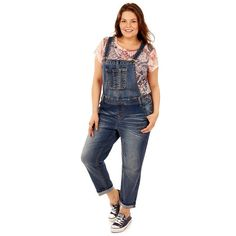 Juniors' Plus Size Wallflower Faded Jean Overalls, Teens, Size: 2XL, Yellow Oth