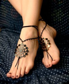 Black barefoot sandal, Crochet hippie shoes, yoga accessories