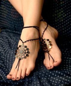 Black barefoot sandal, Crochet hippie shoes, yoga accessories