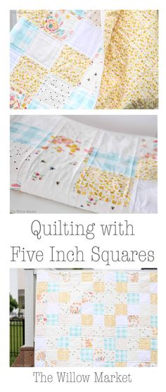 Quilting a throw sized quilt with five inch squares. Simple and perfect for spring! Backed with Art Gallery Delicate Gold Femme in yellow.