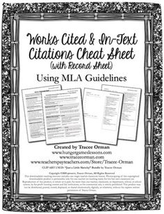 MLA Citations/Research - Works Cited & In-Text Documentation Cheat Sheet for Students (priced)