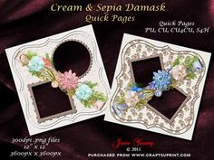 """Cream Sepia Damask on Craftsuprint designed by June Young - Contrasting pages, one with sepia on cream damask and the other is cream on cream damask. In bracket-shaped panels, each with two openings for your pictures/artwork and each embellished with a flower and ribbon cluster. These pages are 12"""" x 12"""" at a resolution of 300dpi so will enlarge or reduce to suit your needs. You can also use them for cardmaking if you wish. CU and CU4CU or S4H is allowed as long as they form part of your own…"""
