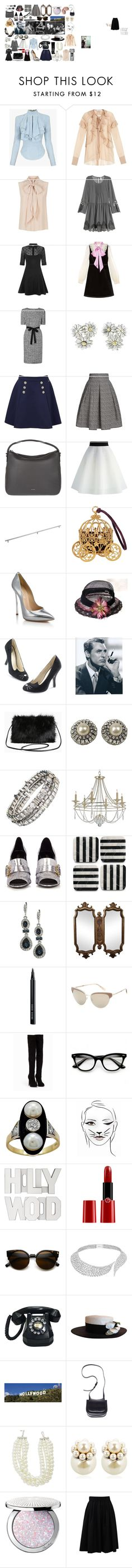 """""""MoodBoard - Hollywood anos 40"""" by mariana-bastos-i on Polyvore featuring Balmain, Givenchy, MaxMara, H&M, Collectif, Gucci, Tommy Hilfiger, Rumour London, Joop! e Chicwish"""