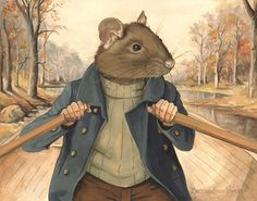 The Wind in the Willows Art - The Rat and His River /-Ratty