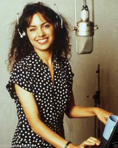 Susanna Hoffs of The Bangles working in the studio
