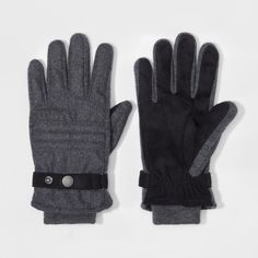 Men's Quilted Woven Thinsulate Lined Wool/Polyester Gloves With Stripes - Goodfellow & Co Gray M/L