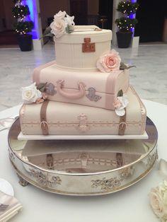 White Suitcases Wedding Cake