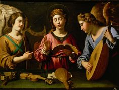My heart is steadfast, God; my heart is steadfast. Let me sing and chant praise. Awake, lyre and harp! I will wake the dawn. (Psalm 108:2-3) // Saint Cecilia with Two Angels / Santa Cecilia con dos ángeles / Kunsthistorisches Museum, ViennaSingende Hl. Cäcilia mit zwei musizierenden Engeln // 1620-1625 // Antiveduto della Gramatica // © KHM-Museumsverband // #music