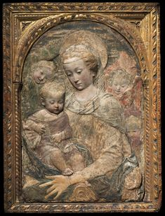 Madonna and Child, c. 1470 workshop of Antonio Rossellino (Italian, 1427-1479 ) painted stucco with traces of gilding, Overall - h:83.50 w:65.10 cm (h:32 13/16 w:25 5/8 inches). Bequest of Samuel L. Mather 1970.44