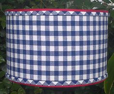 Drum Lamp Shade Navy Blue Checks Gingham Preppy by VeroLampshades