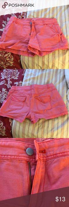 J.Crew Salmon Shorts J.Crew salmon-colored Shorts. Size 0. Back pocket detail.   Care instructions: machine wash cold gentle cycle with like colors. Non-chlorine bleach only. Tumble dry low. Warm iron if needed.   *please note there is a small stain on the right pocket. It's barely noticeable from afar. Please see picture above. J. Crew Shorts Bermudas