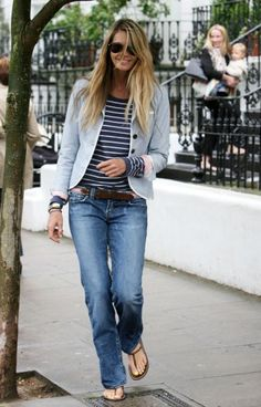Elle McPherson looking great in stripes