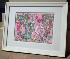 Just finished framing this new painting for a little baby girl named Riley. Girls are so easy to paint for…..pinks and greens plus a birdie and some polka dots. I love all things girly. There are lots of little goodies in the painting if you look closely: Flower-shaped buttons, rhinestones, butterfly buttons withhand-stitchedbodies and antennae. …