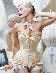 e4cd405fc3 Women s Ivory Victorian Satin Boned Vintage Bowknot Overbust Corset Bustier  L