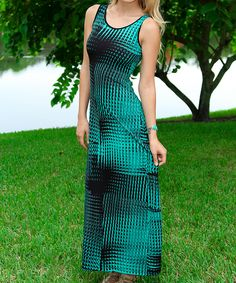 Adorable Turquoise & Black Prism Corset-Back Maxi Dress  www.violetstreet.com