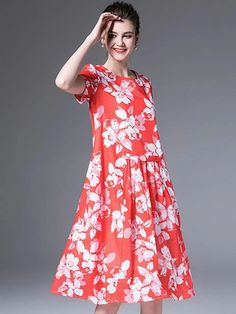 O-Neck Short Sleeve High Waist Print A-Line Dress