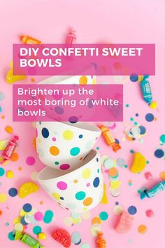 Brighten up boring white bowls with confetti and create the perfect container for the prettiest and most colourful of sweets.  Perfect for any summer party or outdoor wedding.   Click below for the full tutorial and details. #diy #homedecor #party