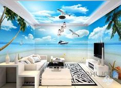 3D Yacht Seagull Shell Beach Entire Room Wallpaper Wall Murals Prints IDCQW-000104