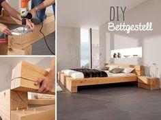 Die Massiv Blox Holzbalken schaffen vielfältige Möglichkeiten, um hochwertige Massivholzmöbel selbst zu bauen z. B. ein Bettgestell - mit Akkubohrschrauber und Holzdübel.