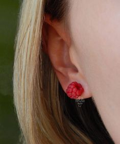 Raspberry stud earrings  red berry  gift for her  red tiny
