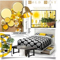Gold Dust by clotheshawg on Polyvore featuring interior, interiors, interior design, home, home decor, interior decorating, Madison Park and Shiraleah