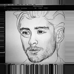 Zayn malik by coconutwishes Outline Drawings, Cool Art Drawings, Pencil Art Drawings, Art Drawings Sketches, Easy Drawings, Horse Drawings, Drawing Art, One Direction Fan Art, One Direction Drawings