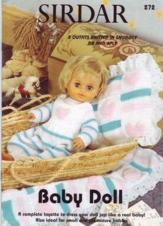 ideas for baby born doll album Sirdar Knitting Patterns, Knitted Doll Patterns, Knitted Dolls, Baby Patterns, Crochet Toys, Sewing Patterns, Knitting Dolls Clothes, Baby Doll Clothes, Doll Clothes Patterns