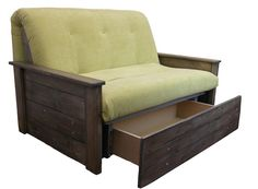 Stamford, futon style sofa bed with wooden arm rests and storage drawer.