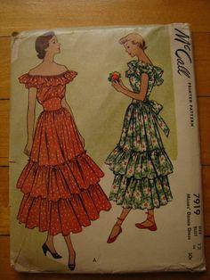 McCalls Spanish Dress Pattern 1940s 7919 by FlutterbysandFlowers, $32.00