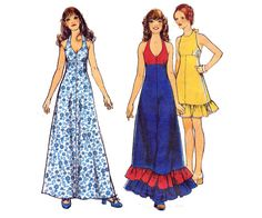 70s Maxi Peasant Halter Dress Pattern by allthepreciousthings