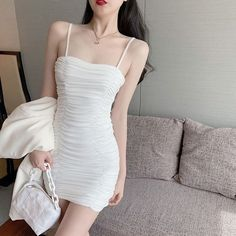 Korean Outfit Street Styles, Korean Fashion Dress, Korean Dress, Kpop Fashion Outfits, Ulzzang Fashion, Korean Outfits, Girl Outfits, Fashion Dresses, Ulzzang Girl