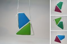Angelina Jane- Contemporary geometric magnetic silver and resin necklace - customisable - colourful